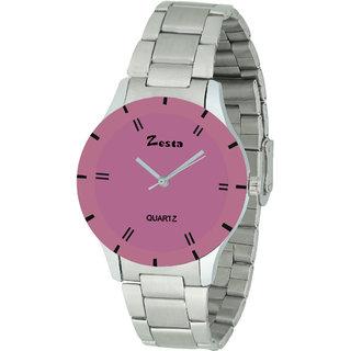 Zesta 16 Analog Watch Women Casual Metal Strips Quartz Wrist Watch Girl Fashion Round Dial Adjustable Wristwatch (Pink  Silver)