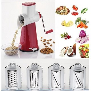 Bluzon 4 in 1 Fruits  Vegetable Grater with 4 Different interchanging Blades (Pink)