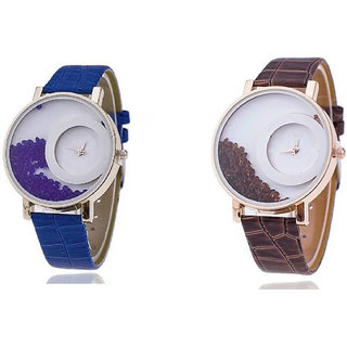 mxre brown and blue analog watch for woman