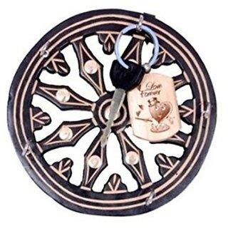 Desi Karigar Wooden Key Holder In Wheel Shape With Handicraft Design And Brass Inlay