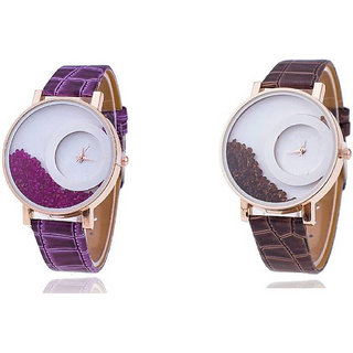 mxre brwon  and purple analog watch for woman combo