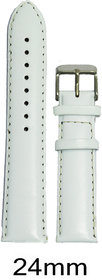 Like 24mm Leather Plain Padded Watch Strap (White)