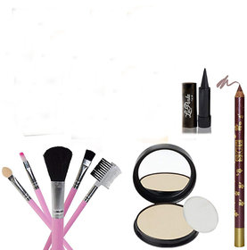 ELEGANCIO Combo Of 4 Makeup Set ( Compact, Brush Set, Kajal, Lip Pencil