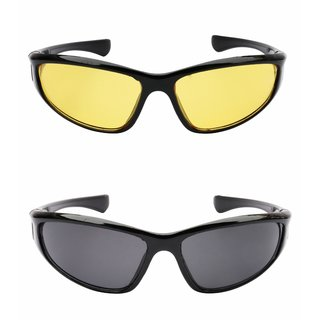 5f2eb638ff Buy Derry Combo of Night Driving and Black ( UV Protection )Sunglasses  Non-Metal Online - Get 79% Off