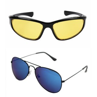 d91412dc7de Derry Combo of Night Driving and Blue Mirrored Aviator ( UV Protection ) Sunglasses Non-