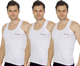 Pack of 3 - Mens White Color Sando Vest - 100 Cotton - Size S (Small) 70 to 75 cms- Sando Baniyan by Semantic