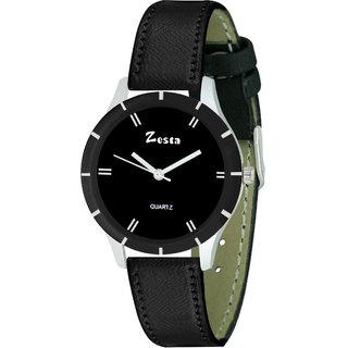 Zesta 17 Analog Watch Round Dial Leather Strap Quartz Watch for Women (Black)