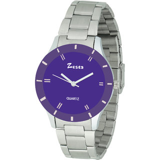 Zesta 16 Analog Watches for Girls/Watches for Women/Watch for Women Stylish/Watch for Girls Analogue Round Dial  Metal Strips (Purple  Silver)