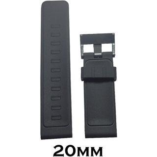 Like 20Mm Black Silicone Watch Strap