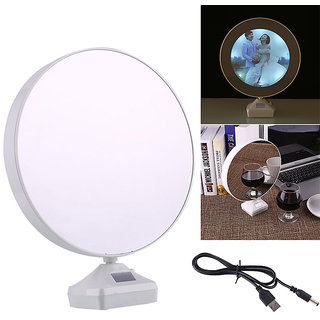 Magic Mirror-Photo Frame LED Lamp cum Mirror (BatteryCharger)- Personalised Gift