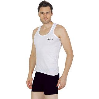 Mens White Color Sando Vest - 100 Cotton - Size S (Small) 70 to 75 cm - Single Pcs Sando Baniyan by Semantic