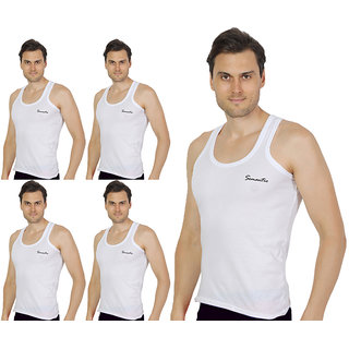 Pack of 5 - Mens White Color Sando Vest - 100% Cotton - Size S (Small) 70 to 75 cm- Sando Baniyan by Semantic