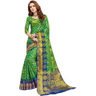 Ashika Traditional Zari Border Green Tussar Silk Saree