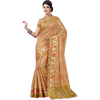 Ashika Beige Tussar Silk Saree for Women With Blouse