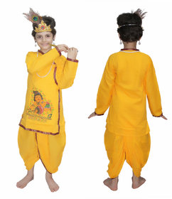 Kaku Fancy Dresses Krishna In Cotton Fabric,Krishnaleela/Janmashtami/Kanha/Mythological Character For Kids School Annual functionTtheme Party/Competition/Stage Shows Dress