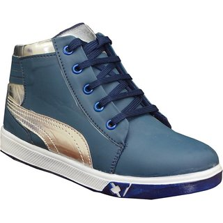 Blue Silver Shoes For Kids