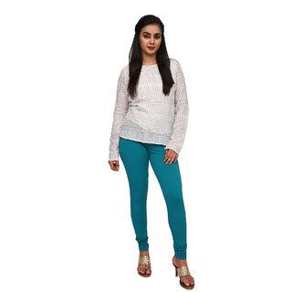 Comfort Lady Solid Cotton  Tarkish Blue Full Length Leggings For Womens