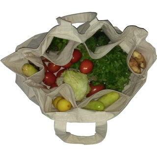 Eco Friendly Cotton Vegetable Bags With 6 Pockets By