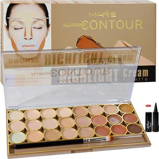 Mars All Round Contour Bronze Highlight Cream Pallette Concealer 24 shade (Multicolor) with kajal