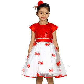 0f03b2a26751 Buy Alisha Moda Kids Girl Party Wear Knee-length Frock Dresses  (SSJ-11 red 3Yrs red) Online - Get 35% Off