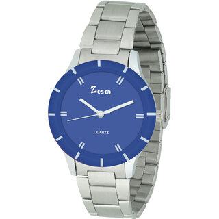 Zesta 16 Analog Watch Round Dial Silver Metal Strap Quartz Watch for Women (Blue  Silver)
