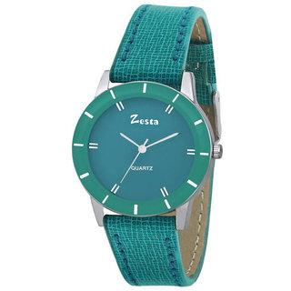 Zesta 17 Analog Watch Round Dial Leather Strap Quartz Watch for Women (Green)