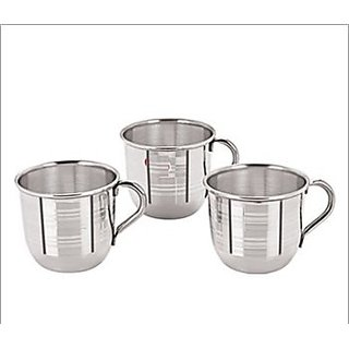 Stylish Stainless Steel Single Wall Tea Cup (Set of 6)