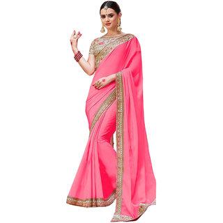 9af8a7a5d4217 Buy Srk Pink Color Chiffon Georgette Silk Plain Saree sn108 Online ...
