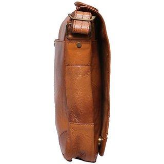 2af84d079e4a Obani Genuine Leather Laptop Messenger Bag Tan TL101