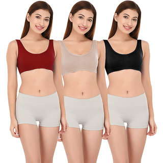 136033bd8b6f8 Buy DeVry Seamless Support Camisole Slip On Air Sport Bra (Pack Of 3 Pc Set)  DRY106 Online - Get 63% Off
