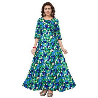 Active Womens Banglori Satin Printed Semi-Stitched Gown (G093-Cube Blue)