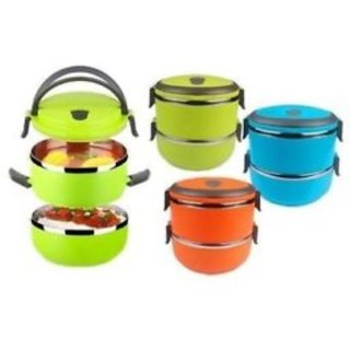 Hengli Stainless Steel 2 Layer Lunch Box ( colour as per available)