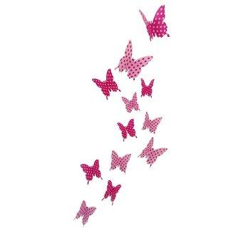 JAAMSO ROYALS DIY 3D Butterfly Wall Sticker Art Decal PVC Paper- 12pcs (Pink Dot) Wall Sticker for Home Dcor