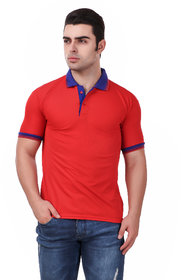 Funky Guys Red Polyster Polo T-Shirt