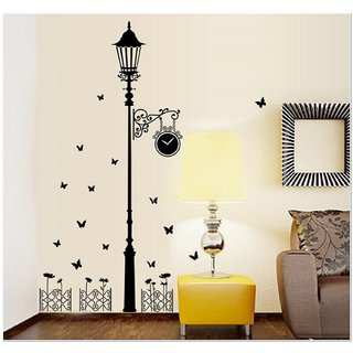 JAAMSO ROYALS Simple Black Street Light PVC Printed  Wall Sticker for Home Dcor