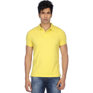 Funky Guys Yellow Cotton Blend Polo T-Shirt