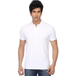 Funky Guys White Cotton Blend Polo T-Shirt