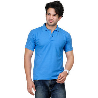 Funky Guys Skyblue Cotton Blend Polo T-Shirt