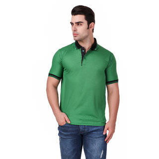Funky Guys Green Polyster Polo T-Shirt