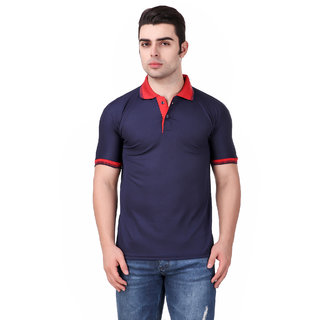 Funky Guys Navy Blue Plain Polyester Polo Collar Casual T-Shirt For Men
