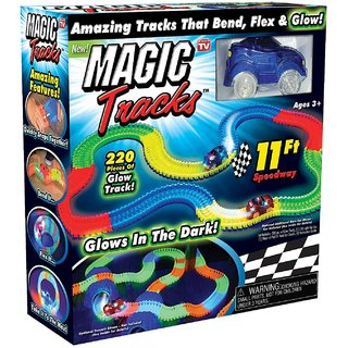 Magic Tracks The Amazing Race Racing Track That Can Bend, Flex and Glow in The Dark 11 Feet - As Seen On TV