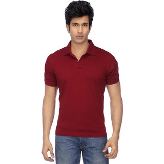 Ketex Maroon Cotton Blend Polo T-Shirt