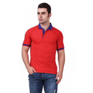 Ketex Men's Red Polyster Polo T-Shirt