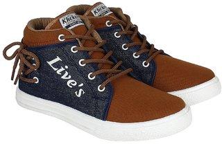 World Wear Footwear Brown Lace-up Canvas Sneakers