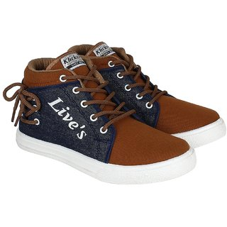 World Wear Footwear Brown Lace-up Canvas Sneakers