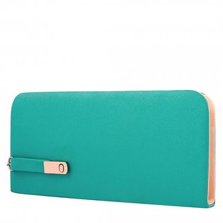 Code Yellow Women's Aqua Green Wallet Clutch