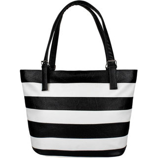 Code Yellow Women's Black White Stripes Handbag