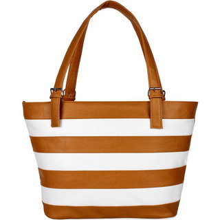 Code Yellow Women's Beige White Stripes Handbag