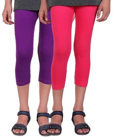 Kids Cotton Capris (Pack of 2) Purple Pink
