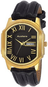 Austere Premium Quality Black Color Day & Date Analog Men's Watch With Strap: AWM-BRLN-020206